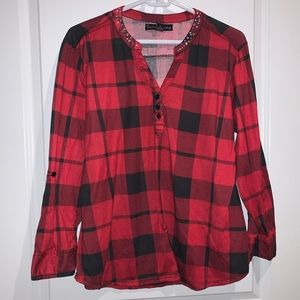 French Laundry | Studded V-Neck Flannel Blouse